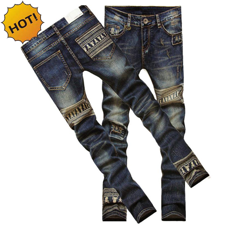 New Teenagers Fashion Slim Fit Pants Boys Skeleton Printed Patch Jeans Men Vintage Hip Hop Straight Hole Harem Pants Homme 28-34