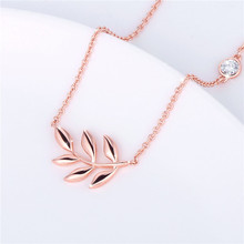 2019 Explosion Olive Leaf Necklace Rose Gold Exquisite Zircon Pendant Womens Plated Brass