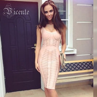 Free Shipping 2015 New Nude Collection Elegant V Neck Embellished Celebrity Party HL Bandage Dress