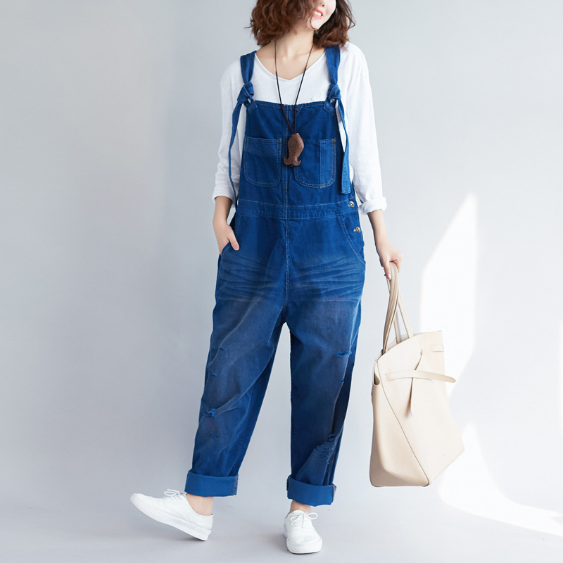 Women Loose Corduroy Scratched Retro Jumpsuits Ladies Solid Color Holes Vintage Loose Rompers Pants Trousers Female