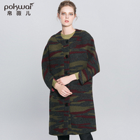 POKWAI Winter Military Wool Coat Women Elegant Womens Coats 2017 Luxury Brand Long Sleeve Wide-Waisted Ladies Overcoats Parka