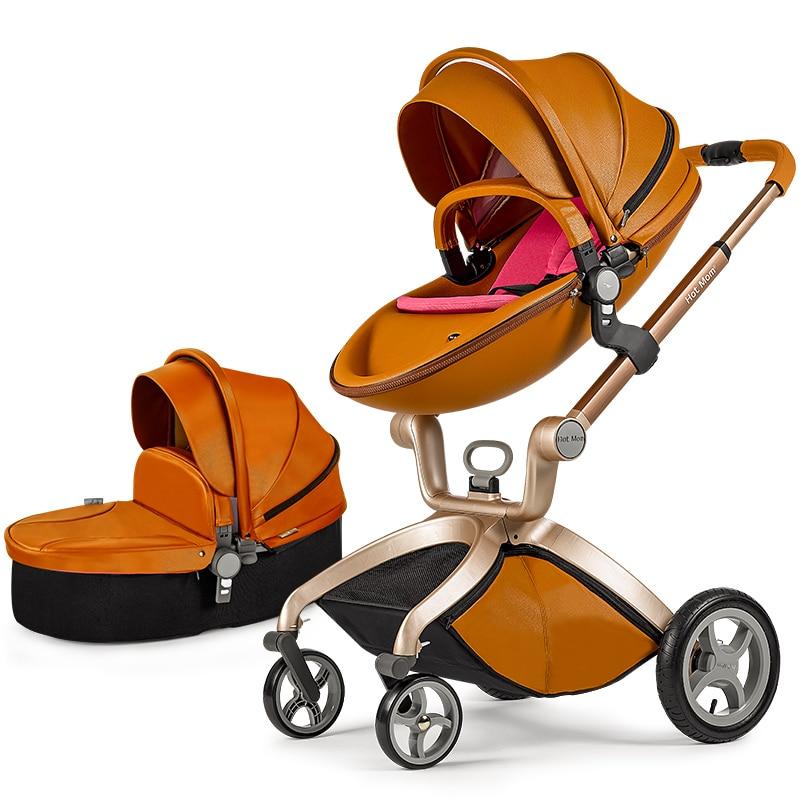 цена Hk Hot mum brand baby strollers 2 in 1 baby car high quality with baby sleeping basket and car seat 3 colors send cushion free онлайн в 2017 году