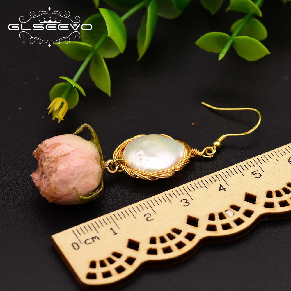 XlentAg จริงๆดอกไม้ธรรมชาติ Fresh Water Baroque Pearl แหวนต่างหูสำหรับผู้หญิง 925 เงินสเตอร์ลิงชุดเครื่องประดับ GS0006
