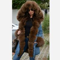 2018 spring casual raccoon fur fox fur hood denim parka coat jacket jean zipper pocket hooded warm women natural fur thick