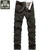 AFS JEEP Brand Pant Men Pure Cotton Trousers Cargo Pants Army Military Tactical Pants Multi-pockets Pantalon Hombre Size 30-44