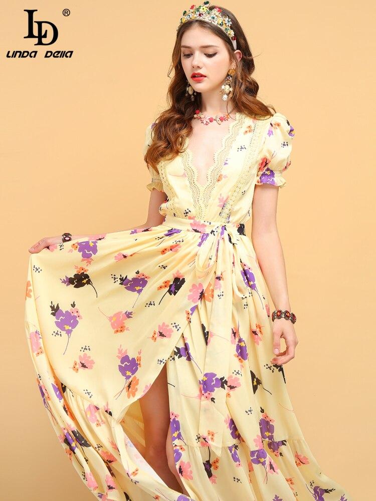Nazan LD リンダデラ夏ファッションデザイナーのドレスの女性の蝶ネクタイフリル花プリントサイドスリットエレガントパーティーレディースロングドレス Princess