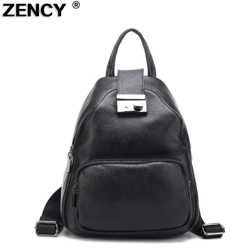 ZENCY 2017 New 100% Genuine Real Leather Women Female Backpacks Ladies Girl Backpack Top Layer Cowhide School Bag Mochila zency genuine leather backpacks female girls women backpack top layer cowhide school bag gray black pink purple black color