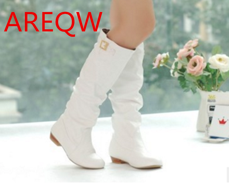 Winter shoes round toe fashion women knee-high boots PU leather all-match med-heel black gray red ladies shoes  B1 hot sale autumn winter shoes round toe fashion ankle women boots sheepskin all match square high heel
