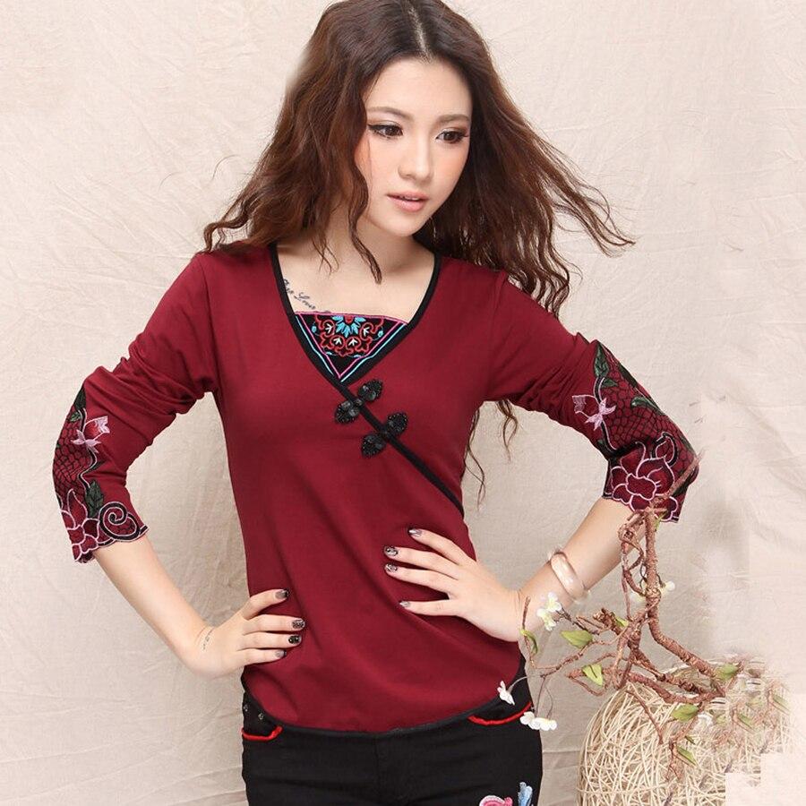 Floral Embroidery Shirt V Neck Designs Women Tops Elegant