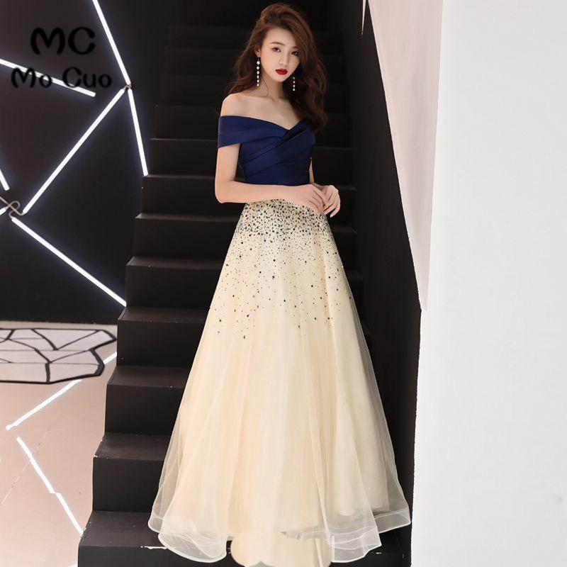 Elegant 2018 A-Line Off Shoulder   Evening     Dresses   Long with Short Sleeve Beaded Lace Up Back Prom Formal   Evening   Party   Dress