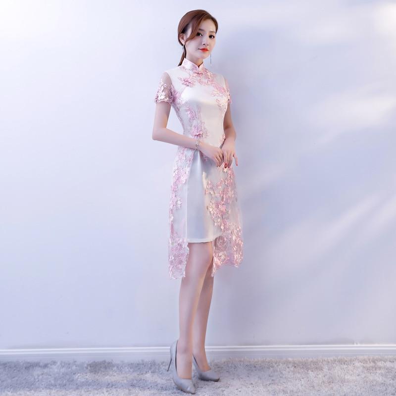 Chino tradicional de encaje bordado cheongsam vestidos de manga corta qipao corto grande para la boda prom party cocktail - 2