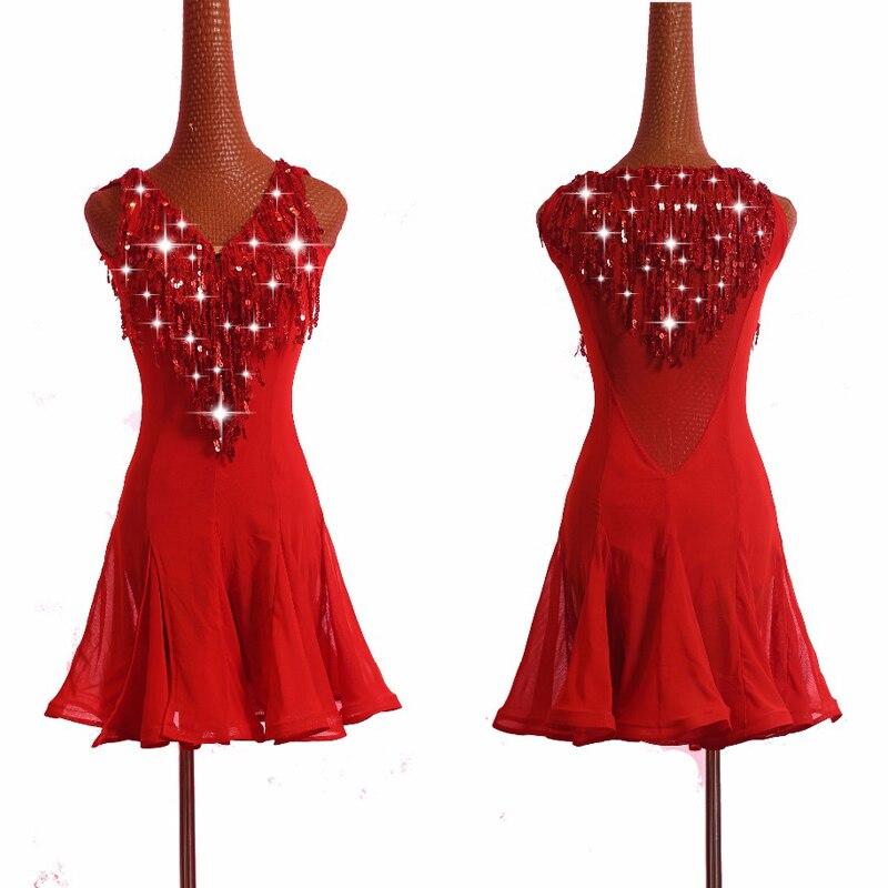 Latin Dance Dresses For Women Red Fringe Dress Lace Tango Cha Cha Rumba Salsa Party Dancer Singer Entertainer Latin Dress BL1146