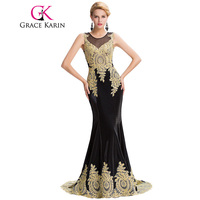 Elegant Long Evening Gowns Grace Karin Black White Red Blue Mermaid Evening Dresses With Golden Appliques