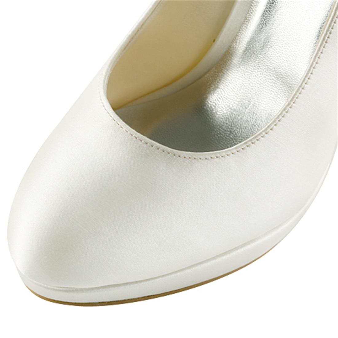 Elegantes Saltos Altos Finos Plataforma Bombas de Noiva de Cetim de Luxo Nupcial Da Dama de Honra Do Marfim Branco Champanhe Sapatos Uninnova 521 1 LY - 5