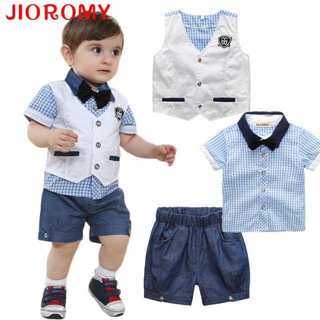 2017 Boys Baby Clothing Set Vest + Shirt + Shorts 3 Pieces Fashion Gentleman Grid Suits Short Sleeve T Shirt Badge Kids JIOROMY