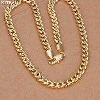 Wholesale Silver Plated Necklace 7mm Gold Color Sideways Chain 20 Inchs Men Necklace Chain 925