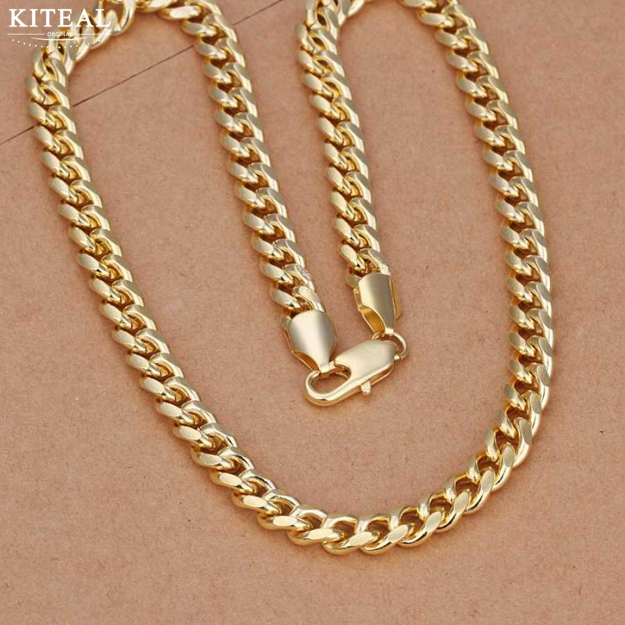 Wholesale silver plated necklace ,7mm Gold color Sideways chain,20 inchs men Necklace chain,925 jewelry