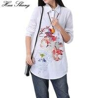2017 Spring Autumn Women White Shirt Cotton Linen Floral Embroidery Turn Down Collar Irregular Plus Size