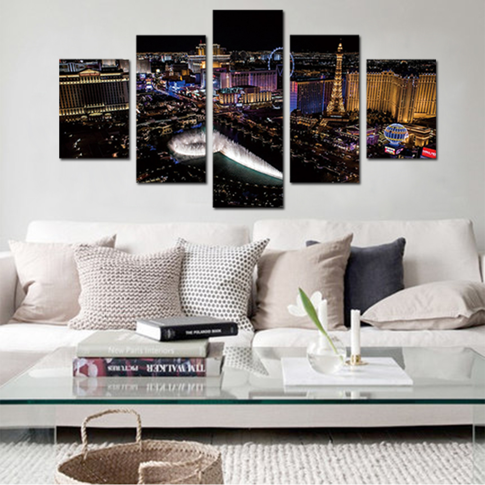 Unframed Canvas Prints City Night Fountain light Giclee Wall Decor Prints Wall Pictures For Living Room Wall Art Decoration