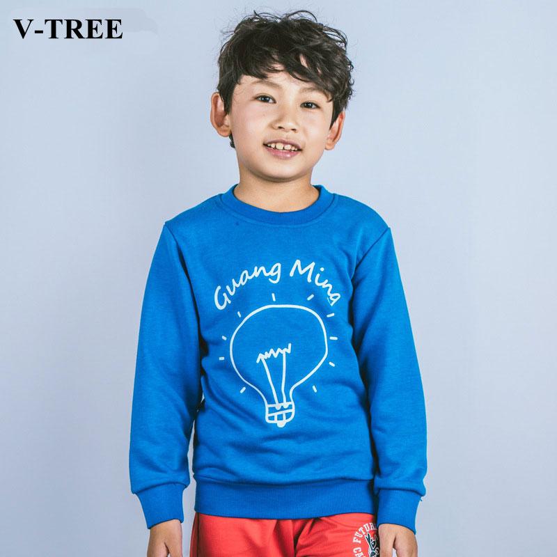V-TREE 2017 Autumn T-shirt For Boys Long Sleeve Boys Sweatshirt Cotton Kids Shirt Children Outwear Baby Tops