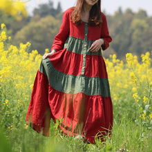 Hisenky Let's Wander/платья из хлопка и льна в стиле пэчворк Mori Girl; сезон весна-осень; платья-комбинезоны; женские платья; Vestidos Femininos