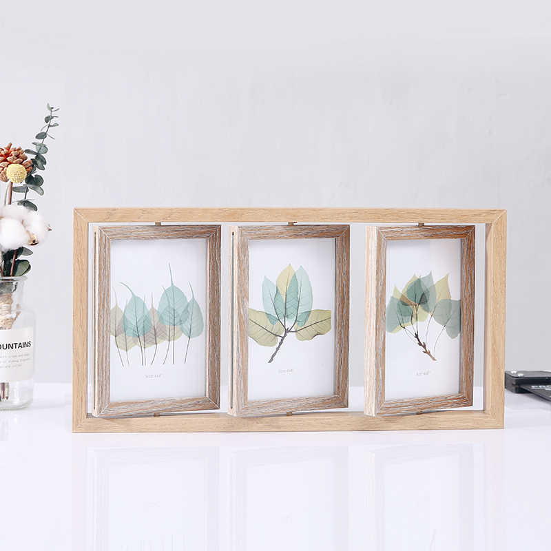Creative Nordic Vintage Wooden Photo Frame Platform 6 Inch 7 Inch Rotating Double-sided Photo Frame Combined Decoration Crafts