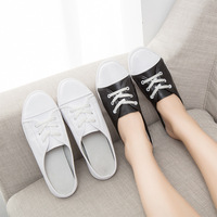 SWYIVY Half Slippers Flat Woman Genuine Leather 2018 Female Summer Casual Shoes Slides Comfortable Lace Toe Cover Slippers 40