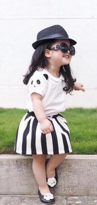 Baby 2 pcs set Girls panda sleeve shirt short sleeve T-shirt + black and white stripes skirt Suit wholesale