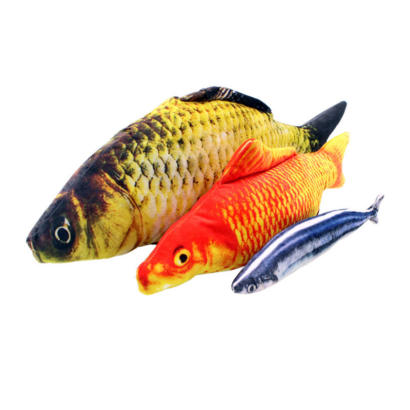 Hot <b>pet cat toy simulation fish</b> toy artificial carp carp sardines plush ...