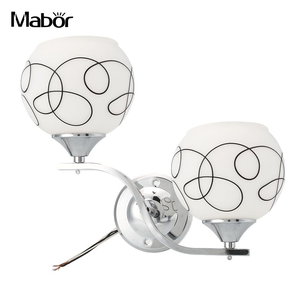 Mabor Double Crystal Pendant E27 Bulb Cover Lampshade Bedroom Wall Light Shade ...