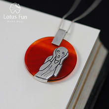 Lotus Fun Real 925 Sterling Silver Natural Agate Handmade Fine Jewelry The Scream Painting Pendant without Necklace for Women