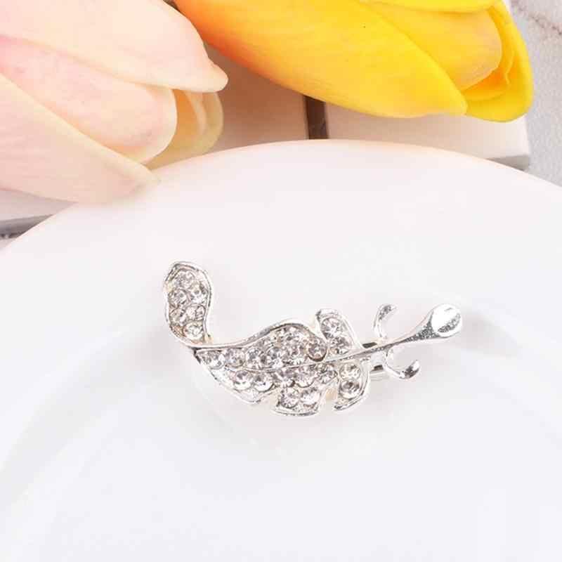 Fashion Wanita Korea Perak Daun Bros Pernikahan Hadiah Kerah Bros Unisex Wanita Pria Rhinestone Kecil Pin Daun Kerah Bros