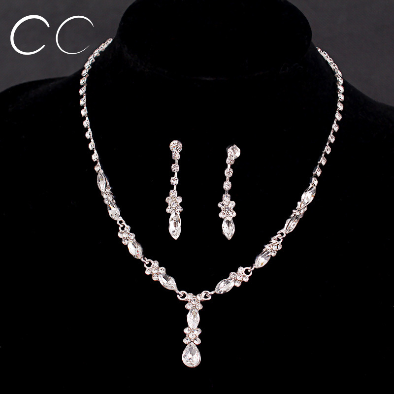 Beautiful bridal jewelry sets for women with austrian crystal simple design necklace earring set Design and style fashion jewelry