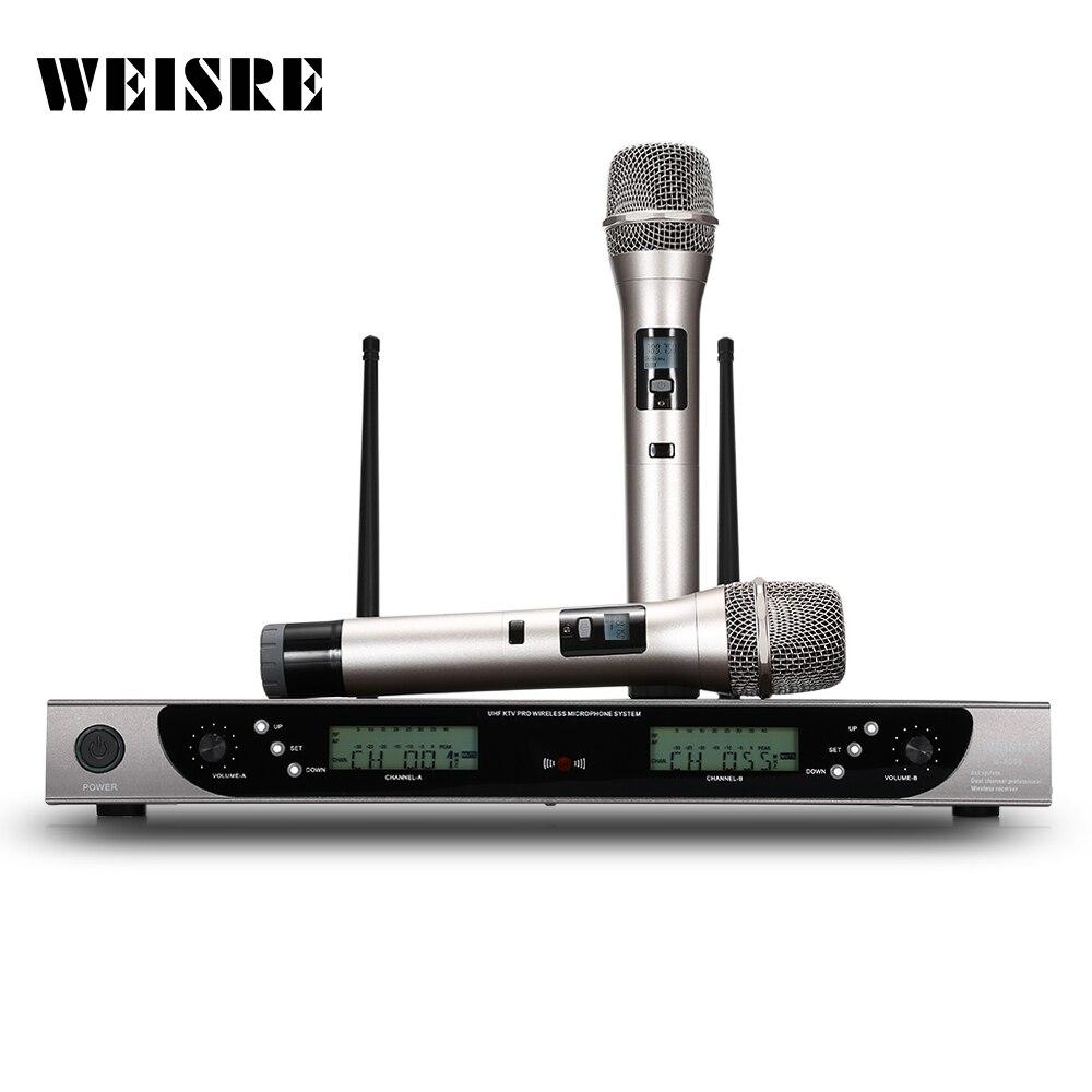 weisre u 8008 wireless uhf microphone system handheld mic for home ktv 2 channels karaoke. Black Bedroom Furniture Sets. Home Design Ideas