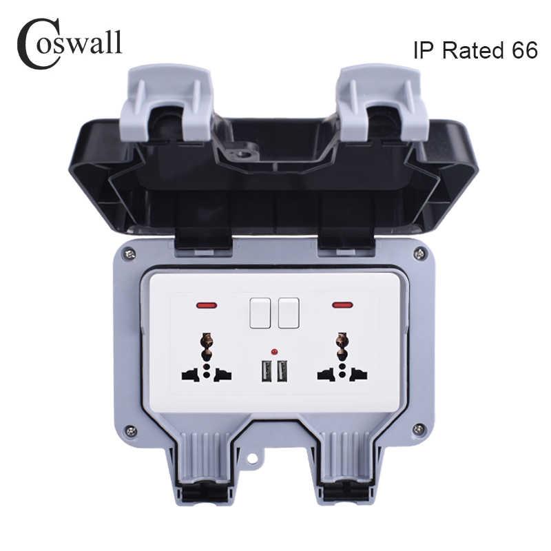 Coswall IP66 Weerbestendige Waterdichte Outdoor DOOS Stopcontact 13A Dubbele Universele/UK Geschakeld Stopcontact Met Usb-poort Opladen