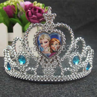 Wholesale New Hair wear accessories Jewelry Anna Elsa Princess Heart crystal Crown Tiaras Hair Band for Children girls RJ3105