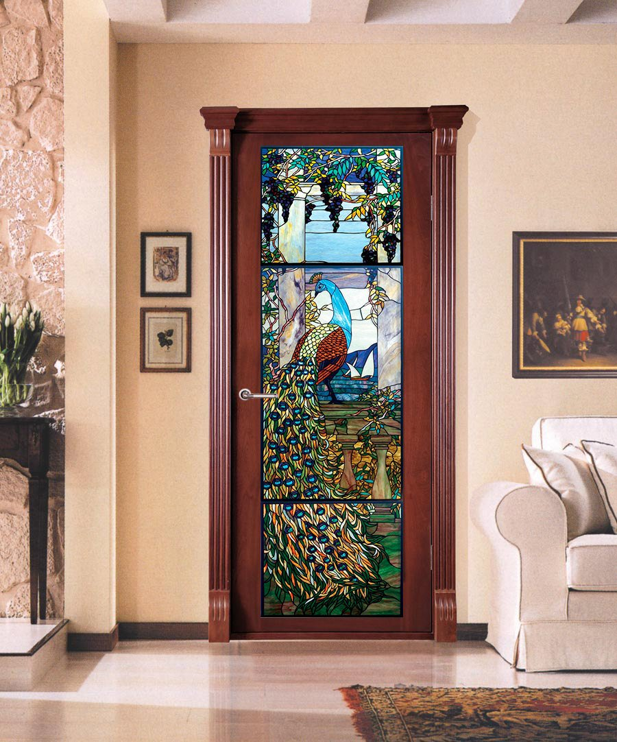 3d Customized Stained Glass Peacock Door Mural Wallpaper