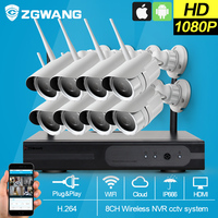 ZGWANG 8CH 1080P HDMI NVR Outdoor Weather Proof 2 MPP2P CCTV Wireless Network IP Security Camera