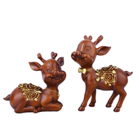 2Pcs Cute Deer Animal Lover Resin Craft Decorations Accessories Miniature Lovely Deer Fairy Ornament Party Garden Birthday Gift