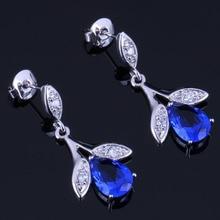 Glowing Plant Blue Cubic Zirconia White CZ 925 Sterling Silver Drop Dangle Earrings For Women V0727