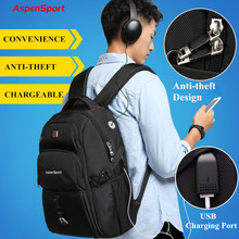 AspenSport Backpacks for Men with USB Charging & Anti-Theft Laptop Rucksacks Male Water Resistant Bag Fit Under 17 Inch