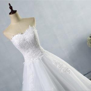 Image 4 - ZJ9059 2019 2020 ثوب أبيض عاجي تول فستان زفاف على شكل قلب صورة حقيقية ذيل محكمة لفساتين العروس مقاس كبير جودة عالية