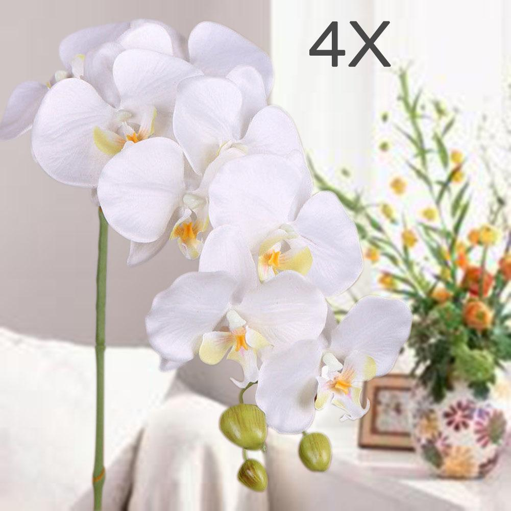 4x Artificial Butterfly Orchid Flower Bouquet Wedding Decor White-in ...
