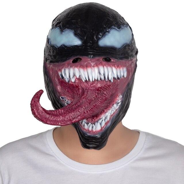 Edward Brock Máscara Cosplay Homem Aranha Spider-Man O Veneno Veneno Superhero Escuro Adereços Festa de Máscaras De Látex Halloween
