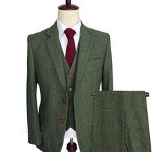 Мужские шерстяные Твидовые костюмы из 3 предметов, строгие смокинги с отворотом и узором в елочку, блейзер, приталенный Зимний свадебный костюм жениха(Блейзер+ жилет+ брюки