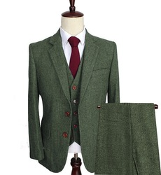 Mannen Wol Tweed Suits 3 Stuks Formele Revers Notch Visgraat Smoking Blazer Slim Fit Winter Bruiloft Bruidegom (Blazer + Vest + Broek)