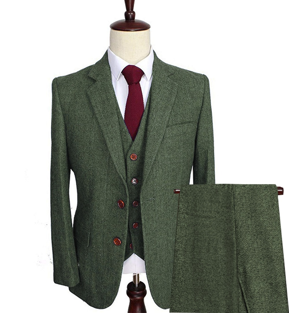 Men's Wool Tweed Suits 3 Pieces Formal Lapel Notch Herringbone Tuxedos Blazer Slim Fit Winter Wedding Groom (Blazer+Vest+Pants)
