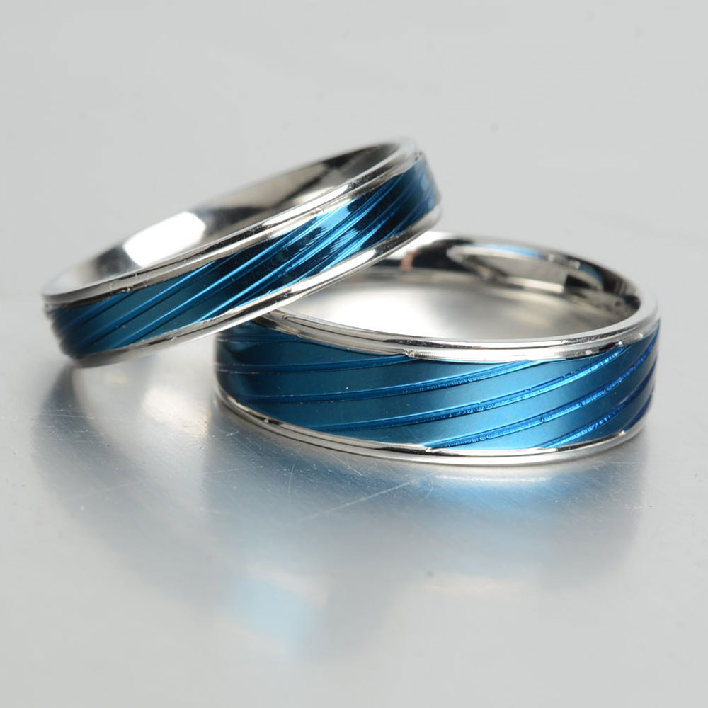 Special Men Woman Stainless Steel Men Woman Stainless Steel Ring Bluetitanium Rings Band New Punk Ring Keisha Lena Thin Blue Line Rings Bright Rings From Keisha Lena Thin Blue Line Rings bark post Thin Blue Line Ring