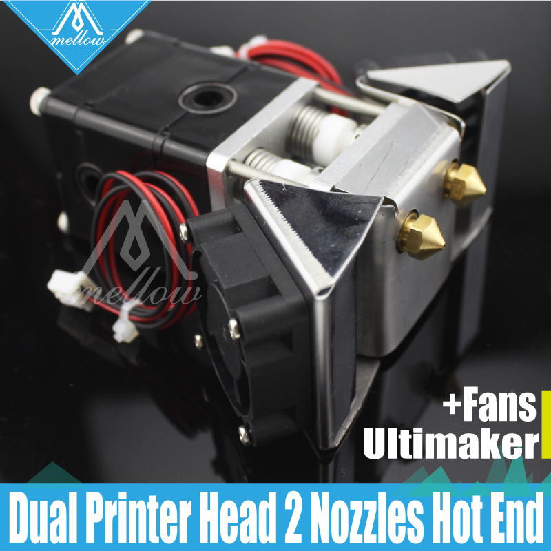 3D impresora Heaterblock Ultimaker 2 + UM2 Dual jefes extrusora Olsson de los fans de boquillas de 0,25-0,8mm de salida HotEnd 1,75/3mm