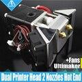 Impressora 3D Ultimaker 2 + UM2 Heaterblock Cabeças Dupla Extrusora bloco Olsson fãs kit Bicos 0.25 -- 0.8mm HotEnd para 1.75/3mm